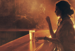 smoking, women, bars, sepia, cigaretes wallpaper