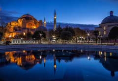 sultan ahmed mosque, mosque, istanbul, turkey, city, reflection wallpaper