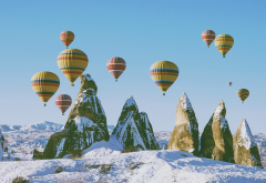 hot air balloon, balloon, cappadocia, turkey, winter, snow wallpaper