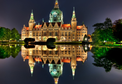 city hall, hanover, architecture, city, germany, water, old building, night, lights, lake wallpaper