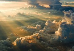 clouds, sun rays, sunset, aerial view, nature, sky wallpaper