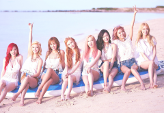 SNSD, Girls Generation, K-pop, Asian, musicians, models, singers, Korean, beach, women, women outdo wallpaper