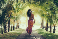 women, palm trees, tropical, palm, girl, pareos wallpaper