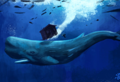 artwork, animals, whale, underwater wallpaper