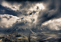 nature, landscapes, Italy, mountains, fields, villages, clouds, snowy peaks, valleys, Alps wallpaper