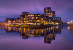 netherlands, city, amersfoort, house, night, reflection, water wallpaper