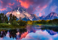 grand teton national park, mount moran, mountains, river, forest, snowy peak, sky, clouds, reflectio wallpaper