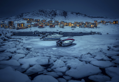 nuuk, greenland, winter, ice, boat wallpaper