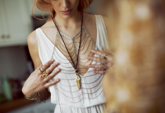 women, model, redhead, Joanna Halpin, necklaces, white dresses, hands, holding boobs, bar wallpaper