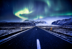 vatnajokull national park, iceland, northen lights, road, snow, nature wallpaper