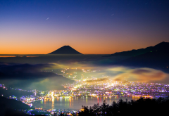mount fuji, japan, nature, mountains, hill, mist, long exposure, city, lake wallpaper