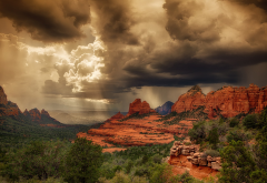 sedona, arizona, canyon, rock, plants, sky, clouds, nature wallpaper