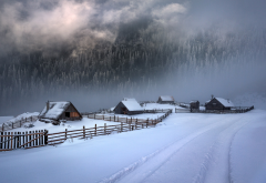 cabin, fence, cold, winter, path, mountains, snow, forest, mist, clouds, nature, landscape wallpaper