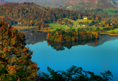 lake district national park, lake grasmere, grasmere village, england, lake, forest, autumn, nature wallpaper