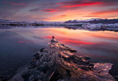 ice, glacier, ice floe, winter, water, sunset, nature wallpaper