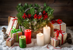 christmas, candles, gifts, snow, decorations, new year wallpaper