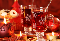 new year, candles, christmas, table, glass, tea wallpaper
