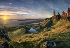 old man of storr, skye, nature, landscape, sunrise, island, scotland, grass, sea, mountains wallpaper