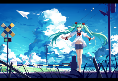 haraguroi you, vocaloid, hatsune miku, anime, railroad, clouds wallpaper
