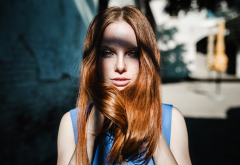 women, model, redhead, face, portrait, freckles wallpaper