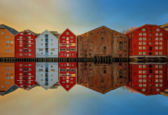 bakklandet, trondheim, norway, reflection, building, city wallpaper
