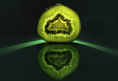 kiwi, fruit, reflection, food wallpaper