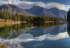 johnson lake, canadian rockies, banff national park, alberta, canada, reflection, nature, lake wallpaper