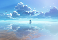 bicycle, clouds, reflection, anime, salt lake wallpaper
