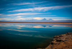 atacama desert, chile, nature, lake, water, reflections, clouds wallpaper