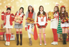 k-pop, t-ara, hyomin, christmas, new year, skirt, stockings, women, music, brunette wallpaper