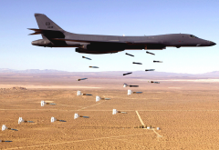 rockwell, b-1, lancer, bomber, aircraft, military aircraft, bombs, us air force, desert wallpaper