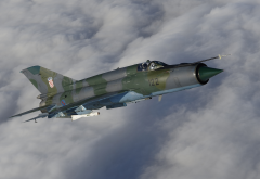 mig-21, military aircraft, aircraft, clouds wallpaper