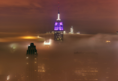 new york, empire state buildin, cityscape, city, mist, building, skyscrapers, fog wallpaper