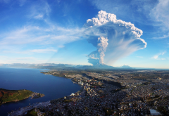 chile, calbuco volcano, puerto montt, nature, eruption, cityscape, sea, smoke, ash wallpaper