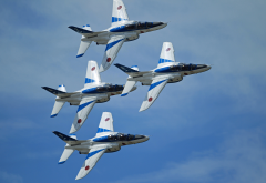 kawasaki t-4, blue impulse, aerobatic team, aircraft wallpaper