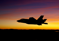 lockheed martin, f-35, lightning ii, military aircraft, aircraft, sunset, silhouette wallpaper