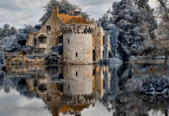 scotney castle, architecture, lake, reflections, river bewl, kent, england, city wallpaper