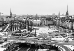 stockholm, sweden, photography, urban, building, monochrome, cityscape, church, winter, ice, bridge wallpaper