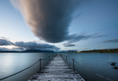 chile, puerto natales, water, pier, clouds, nature wallpaper