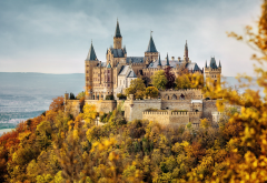 hohenzollern castle, castle, architecture, building, tree, nature, germany, fall, autumn, leaves, forest wallpaper