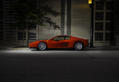 ferrari, ferrari testarossa, car, red cars, sports car, vintage, street, night wallpaper