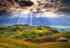 taiwan, landscape, clouds, field, hill, sun light, sun rays, nature wallpaper