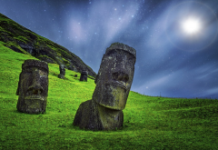 moai, sculpture, starry night, grass, moonlight, easter island, rapa nui, chile, nature wallpaper