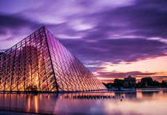louvre museum, louvre, paris, france, sunset, city, architecture wallpaper