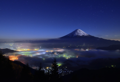 nature, landscape, starry night, mountain, cityscape, mist, snowy peak, lights, trees, Mount Fuji, J wallpaper