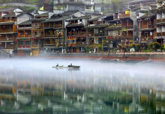 phoenix ancient town, river, mist, fog, water, bird, reflection, nature, city, fenghuang, xiangxi, hunan, china wallpaper