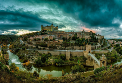 toledo, spain, city, river, bridge, building, architecture, hill, clouds, castle wallpaper