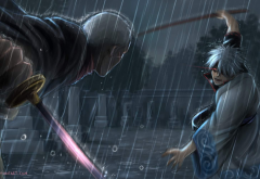 gintama, sakata gintoki, rain, anime wallpaper