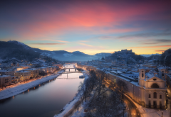 salzburg, austria, city, river, winter, snow, sunset wallpaper