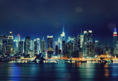 city, new york, night, usa, skyscrapers, city lights wallpaper